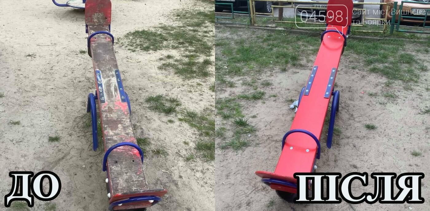 У Вишневому та Крюківщині триває ремонт дитячих майданчиків: до та після, фото-5